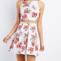 FLORAL PRINT PLEATED SKATER SKIRT
