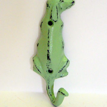 Dog Hook Cast Iron Wall Hook Shabby Chic Minty Pistachio Light Green Distressed Single Coat Jewelry Leash Scarf Hat Towel Hook