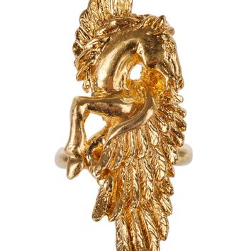 Roberto Cavalli Gold Metal Open Back Winged Horse Rings