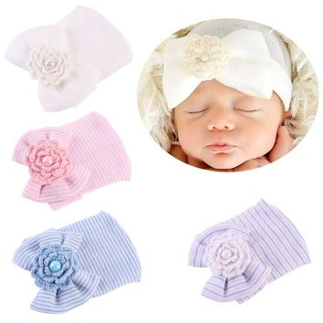 Newborn Baby Infant Toddler Girls Bow Flower Soft Hospital Cap Beanie Cute Hat