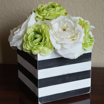 Wood Planter Box, Rustic Wedding Centerpiece, Vintage Wedding, Wood Caddy, Black and White Stripes, Centerpiece Box, Rustic Table Decor