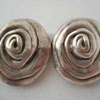 Sterling Silver 925 Large Swirl Earrings Clip On Rose? Vintage Ear Rings 925