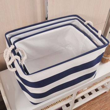 TTLIFE Navy Style 3 Sizes Foldable Cotton Linen Storage Bucket Washing Clothes Laundry Storage Basket With Handles