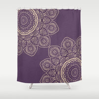 "Shower Curtain - 'Lavender Tulips Mandala' - 71"" by 74"" Home, Decor, Bathroom, Bath, Dorm, Girl, Decor, Hippie, Boho, Bohemian"