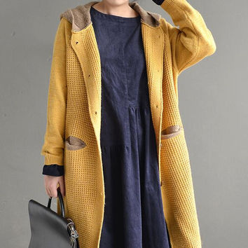 Spell color long sleeve knitting Hooded sweater coat women winter autumn mori girl