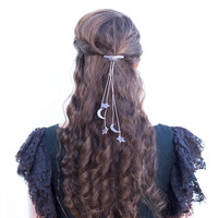 Moon Hair Tie Color Leather Cosmic Hair Piece Celestial Hair Accessory Your Color Choice