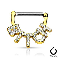 "Pair Body Jewelry 14ga (1.6mm) 1/2""(12mm) Nipple Bar Clicker Ring or Barbell BITCH Paved crystal Gold Look 316l Surgical Steel"