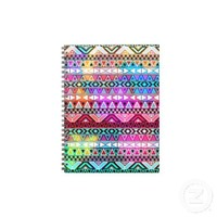 Pink Purple Bright Aztec Pattern Spiral Notebook