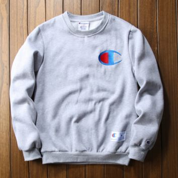 Champion embroidery sweetshirt outfit thickening Grey