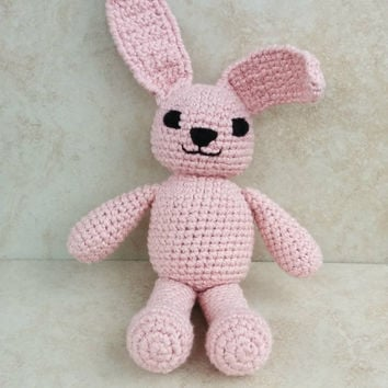 """Organic Crochet Pink Bunny Soft Toy.  11 1/2"""" tall. Gift for baby girl. Handmade gift. bunny toy"""