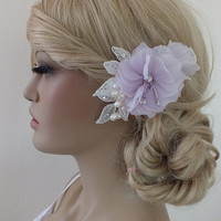 Bridal lace hair comb ivory lace lilac floral Hairpiece Ivory pearl lace floral wedding hair piece bride hair comb