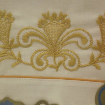 2 Vintage Pillowcases Unopened. Gold Embroidery