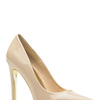 Gold Bottom  Nude Faux Patent Leather Pointed Toe Classic Pumps