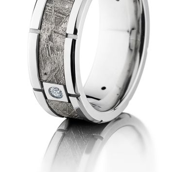 Platinum 8mm wedding ring beveled band with meteorite inlay, 4 segments and diamond accents hand crafted ring