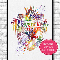 Ravenclaw Crest Watercolor Print Harry Potter Fine Art Print Nursery Art Home Decor Wizard Nursery Kids Room Gift Ravenclaw Crest Poster