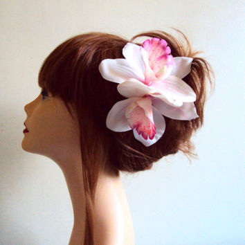 Wedding Head Piece Tropical Flower Hair Clip Bridal Hair Flower Bridesmaids Wedding Hair Accessories Flower Double Orchids Pony Tail
