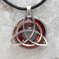 triquetra necklace: rust - mens jewelry - celtic jewelry - mens necklace - irish jewelry - unique gift - boyfriend gift - fathers day