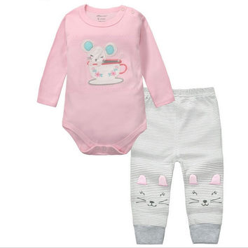 2pcs Baby Girls Boys Clothes Set Long Sleeve Rompers And Pants Roupa Infantil Menina Menino Bebe Newborn Clothing China KF092
