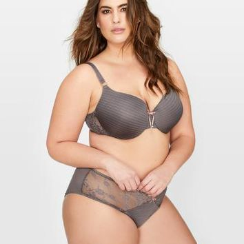Ashley Graham Lace and Striped Icon T-shirt Bra, Sizes G & H | Addition Elle