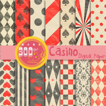 Black and red digital paper 'Casino' featuring red and black patterns in vintage style 14 papers