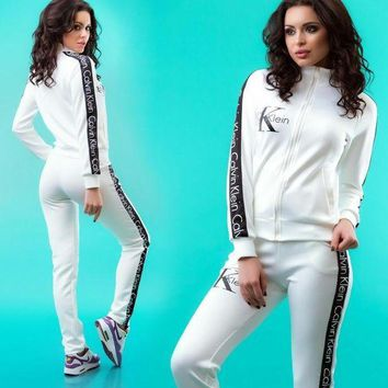 PEAP2Q calvin klein women fashion cardigan jacket sweatshirt pants sweatpants set two piece sportswear