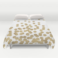 Gold Glitter Dots in scattered pattern Duvet Cover by CharlotteWinter