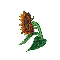 ID #6903 Sunflower with Leaves Flower Plant Iron On Embroidered Patch Applique