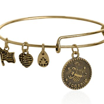 Alex and Ani style 12 constellation Bracelet,Scorpio pattern pendant charm bracelet