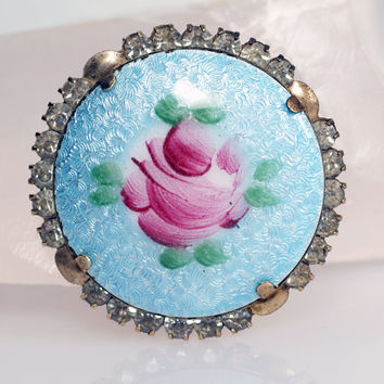 Vintage Blue Guilloche Enamel Dusty Rose Rhinestone Round Gold Tone Pin Brooch