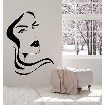Vinyl Wall Decal Girl Face Sexy Lips Hairstyle Beauty Hair Salon Stickers (2716ig)