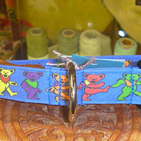 Grateful Dead Blue Dancing Bears Dog Collar Deadhead Pets Hippies