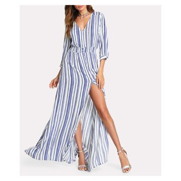 White Blue Striped Button Down Maxi Dress