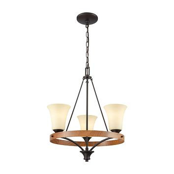 Park City 3 Light Chandelier In Oil Rubbed Bronze,Wood Grain And Light Beige Scavo Glass