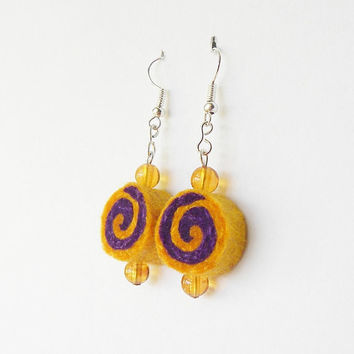 Earrings - unique felted rolls no 105, felt earrings, very light, colorful earrings, unique pattern, violet yellow jewelry, colorful jewelry