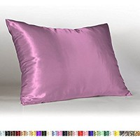Sweet Dreams Luxury Satin Pillowcase with Zipper, Standard Size, Lavender (Silky Satin Pillow Case for Hair) By Shop Bedding
