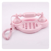 New Novelty Pink Lovely Corded Phone Stylish Telephone
