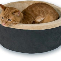 Thermo Kitty Heated Cat Bed - Large/Mocha