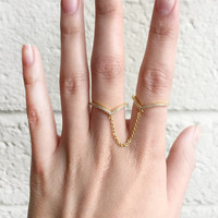 Double Ring Chain Link Silver or Gold Plated Ring Chain Connector Cuff Rings