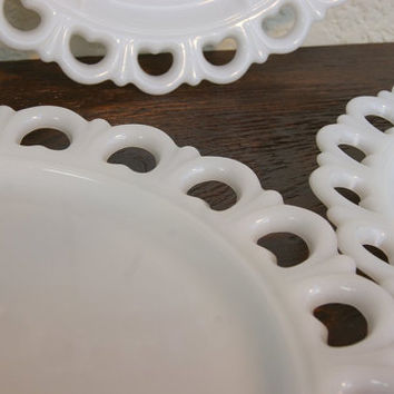 "Vintage MILK GLASS PLATeS Trio w/ Sweetheart Lace Edging. Three 13"" Plates, 2 Regular, 1 w/Dividers/Sectioned. Cakes, Cookies, Platter."