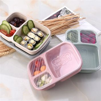 Travel Bento Microwavable Food Prep Box Lunch Container 3 Compartment Meal Storage