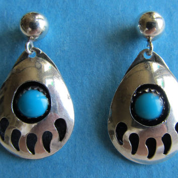 Sterling Silver Turquoise Native American Bear Paw Dangle Earrings 3.55g