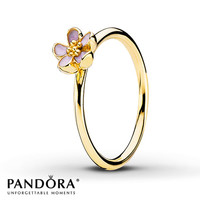 Pandora Ring Pink Enamel 14K Yellow Gold