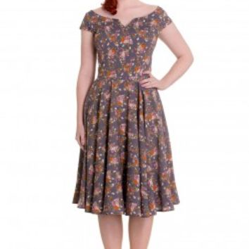 * Printed 50's style dress.* Orange, pink, green and white floral design on a grey background.* Boat neckline with V-shape in the centre.* V-shape has plastic boning to hold the shape.* Short cap sleeves.* Seams over the bust.* Waist seam.* Circle skirt.*
