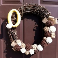 Burlap Monogram Wreath Grapevine Front Door with Custom Initial