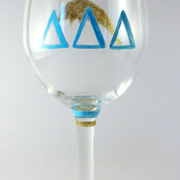 Delta Delta Delta (Tri Delta) Sorority Hand Painted Wine Glass