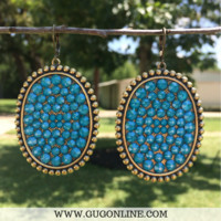 Pink Panache Bronze Oval Earrings with Candy Blue Crystals