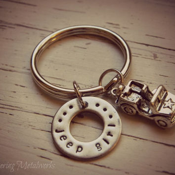 Jeep girl keychain hand stamped stainless steel washer with jeep charm