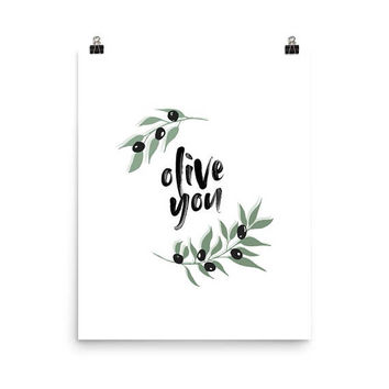 botanical art, olive you wall art print, olive branch, wreath art, love poster, I love you gifts, love quotes, olive print, botanical print