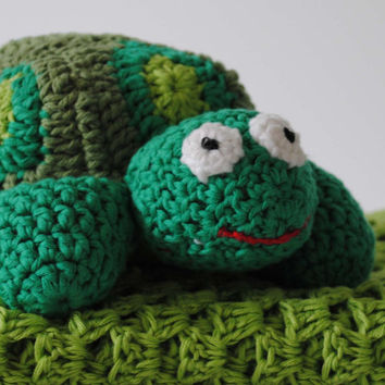 Bamboo/Cotton Crocheted Baby Blanket & Amigurumi Turtle Toy - Newborn Gift