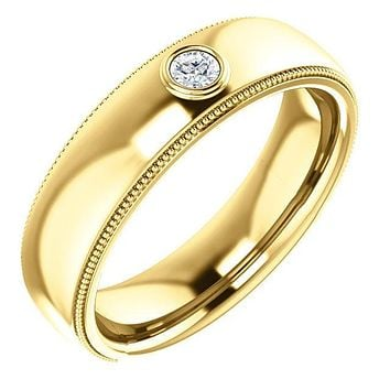 Matthew Milgrain Round Center Diamond Bezel-Set Wedding Band